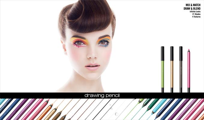シュウ ウエムラから、組み合わせて描く色鉛筆のようなアイライナー「ドローイング ペンシル」登場