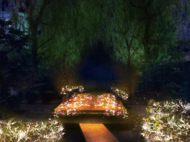 お台場・大江戸温泉物語、足湯に花火のプロジェクションマッピングを投影するイルミネーション開催 写真2