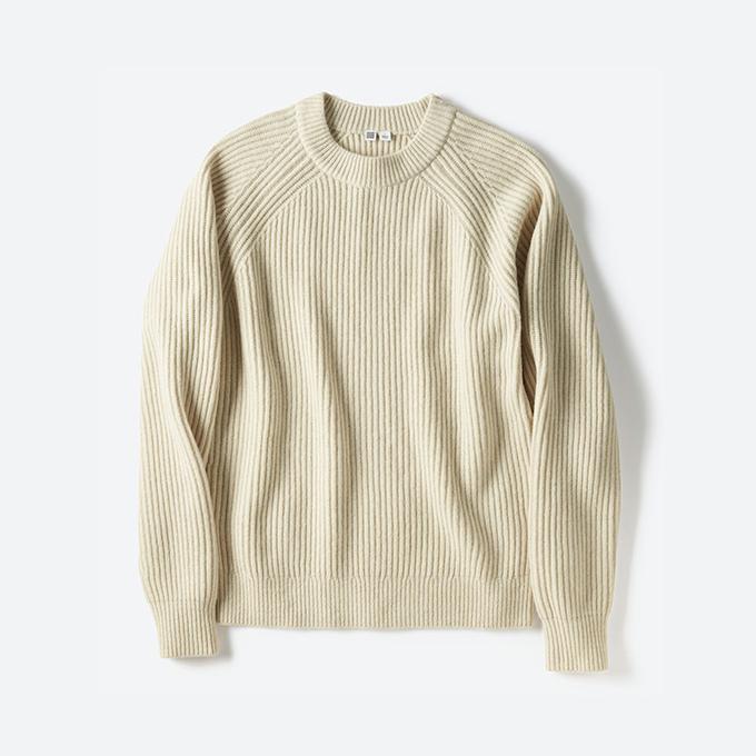 <メンズ>ラムブレンドリブクルーネックセーター+E 3,990円+税