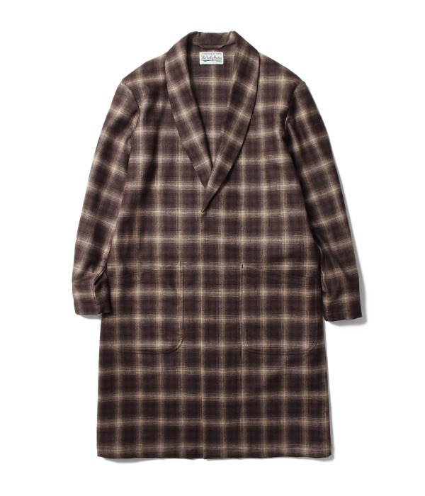 OMBRAY CHECK GOWN COAT Lanificio Luigi Zanieri生地(ベージュ&ブラウン)
