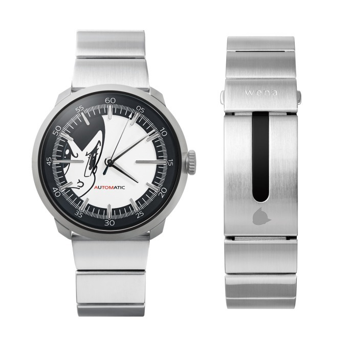 wena wrist Three Hands Mechanical Silver -ATOM Edition