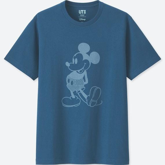 ユニクロ\u201c藍色\u201dミッキー&ミニーのディズニーTシャツ、メンズ&ウィメンズ