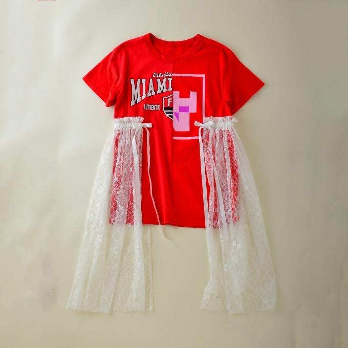 <FURUGI-NI-LACE>リメイクTシャツ ワンピースタイプ(CHAI) 18,360円