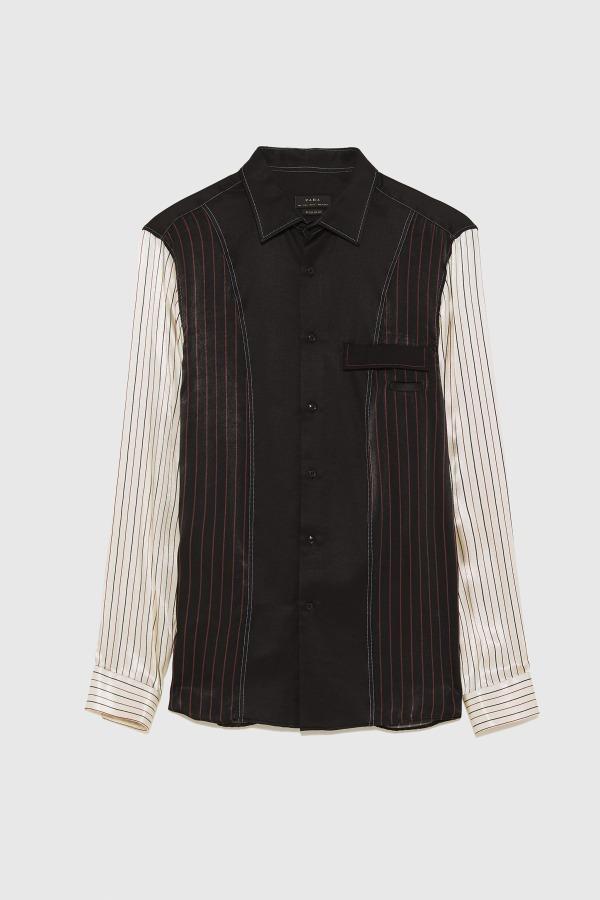 パッチワーク柄サテンシャツ 5,990円