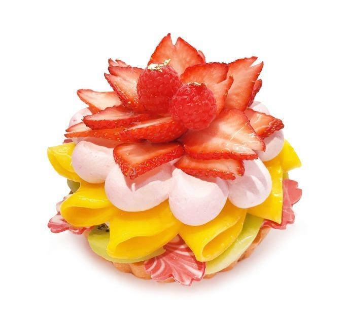 """""""ひし餅""""のようなデコレーション、ひな祭り限定ケーキ"""