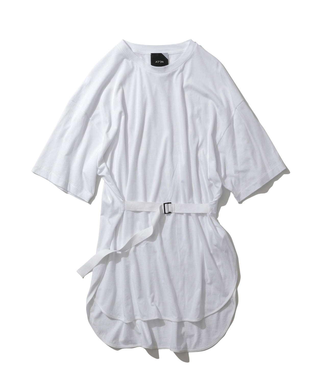 ペルーコットン オーバーサイズド ベルテッド Tシャツ(ホワイト) 19,000円+税