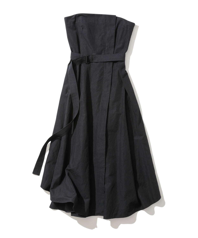 リネンシルクシャンタン ベアトップドレス(ネイビー) 59,000円+税