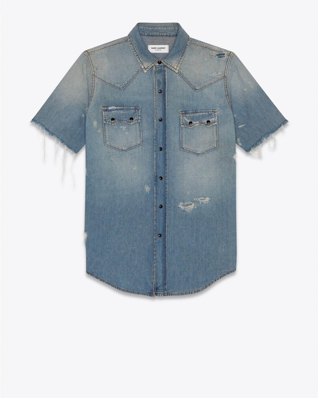 〈サンローラン〉ダメージ加工・断ち切りのウエスタンデニムシャツ