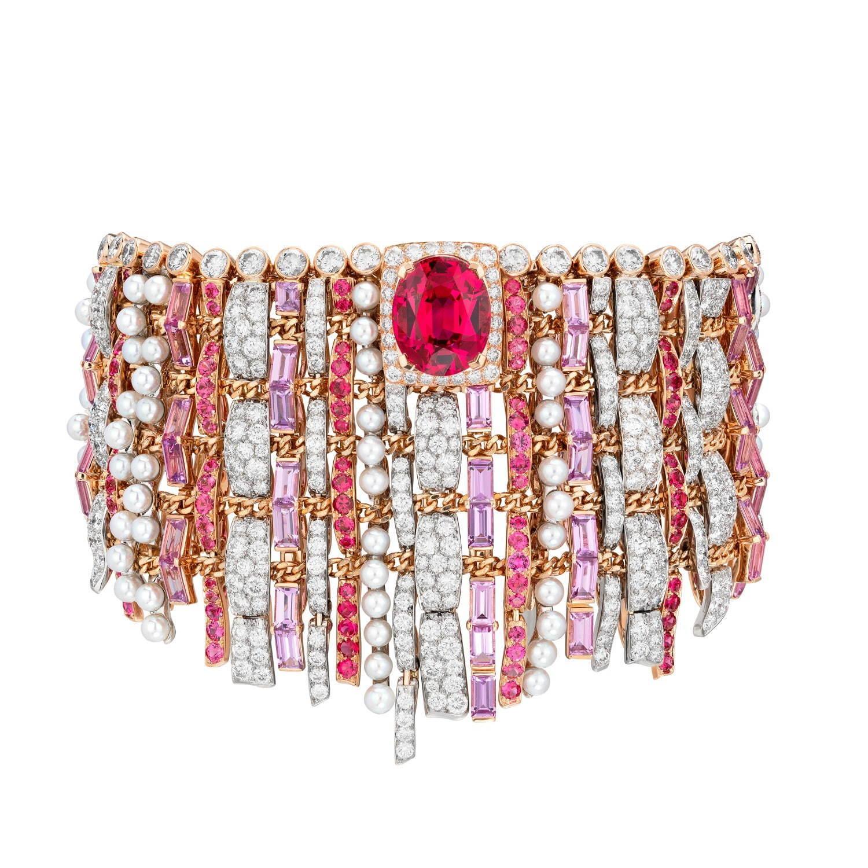 「ツイード クチュール」ブレスレット プラチナ、ピンクゴールド、6.72ct オーバルカット スピネル、ダイヤモンド、ピンクサファイア、スピネル