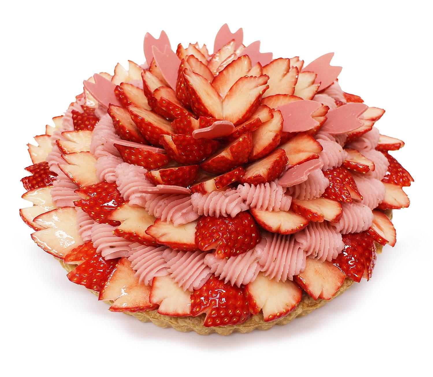 旬の苺と桜を使ったケーキ