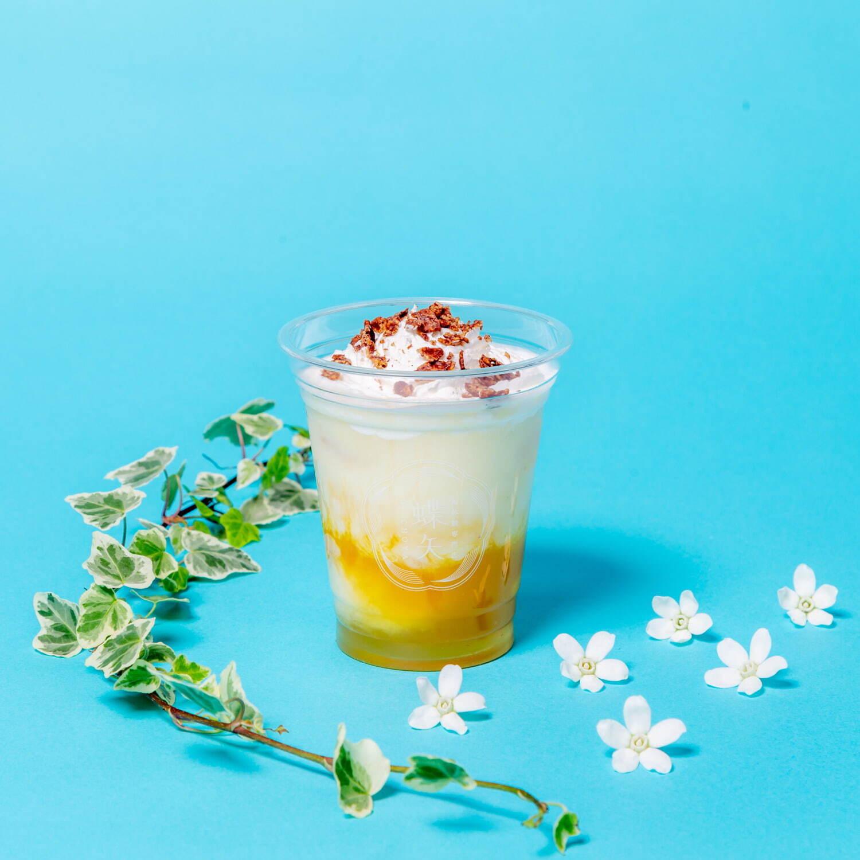 <蝶矢>ホイップ&チョコクランチのせた梅マンゴークリームラテ