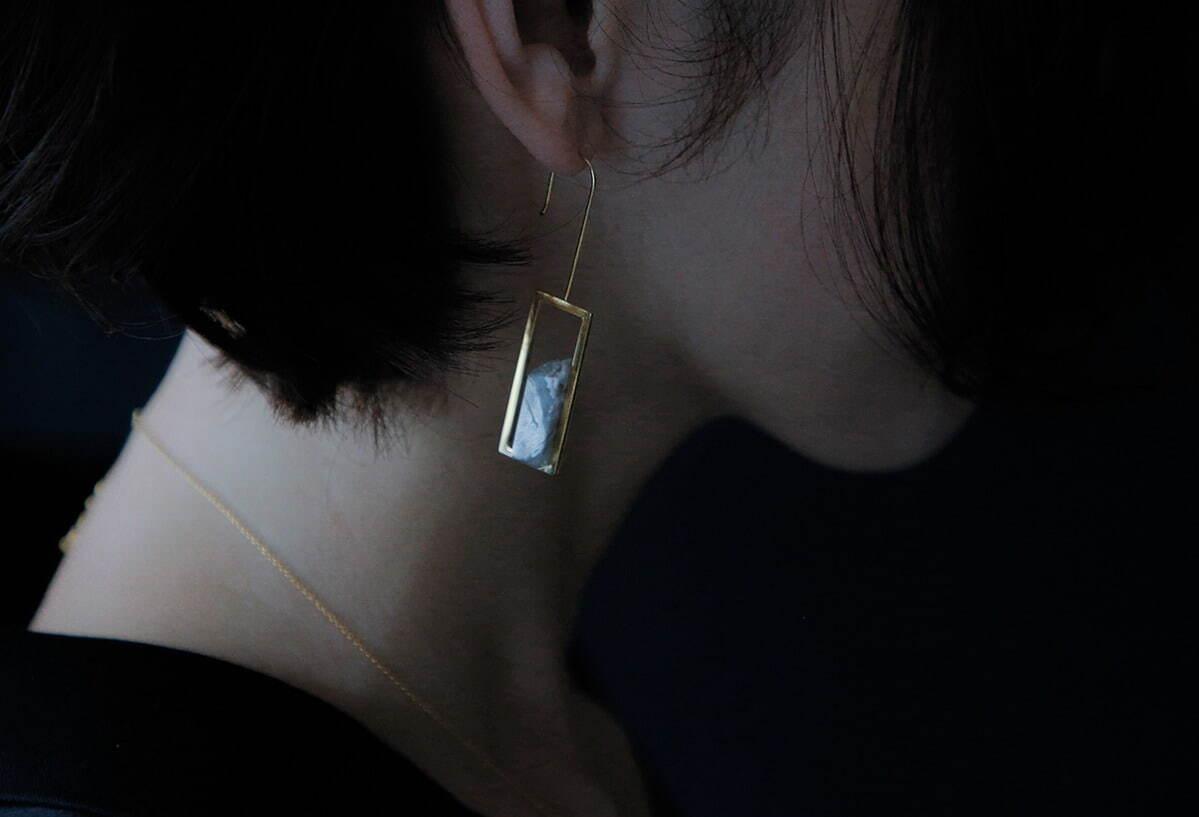 イヤリング(ピアス) #frame : ペア agate silver925 + 18k gold plate 35,200円(税込)