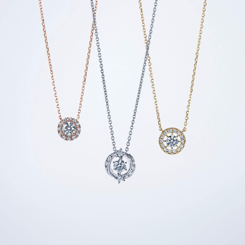 K18YG ダイヤモンドネックレス(センターDIA 0.10ct Gカラー/VSクラス up/エクセレントカット) 132,000円 Pt950 ダイヤモンドネックレス(センターDIA0.12ct Gカラー/VSクラス up/エクセレントカット) 165,000円 K18PG ダイヤモンドネックレス(センターDIA0.10ct) 99,000円