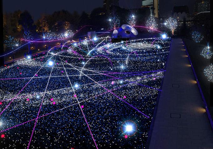 上戸彩が点灯!ミッドタウンにLED28万個のX'masイルミネーション - テーマは「宇宙の広がり」